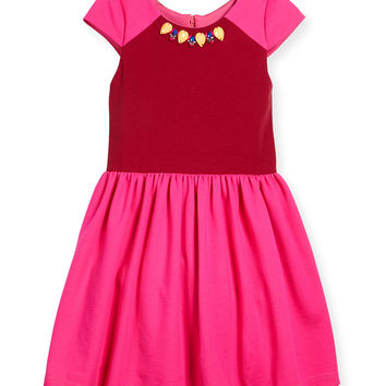 Raglan Colorblock A-Line Dress, Pink/Red, Size 2-6,