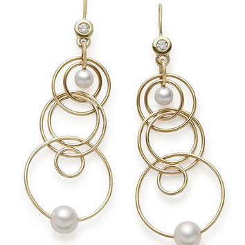 Ippolita 18k Gold Nova Mini Jet Set Pearl & Diamond Dangle Earrings