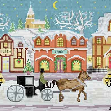 Winter Town - PDF Cross Stitch Pattern - INSTANT DOWNLOAD