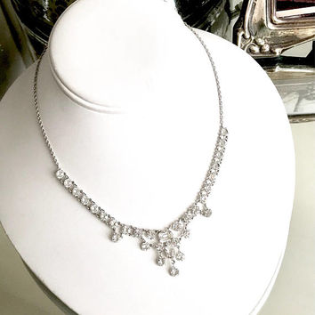 Art Deco Clear Crystal Necklace, Dangle Choker, Open Back Setting, 12k, White Gold Filled, Bridal Necklace, Antique 1920s, Gift For Her