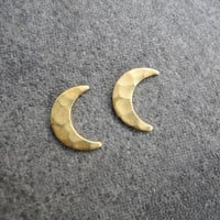 Crescent Moon Earring Studs - Moon Post Earrings - Moon Jewelry - Crescent Earrings - Brass Jewelry (E215)