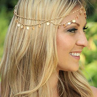 Bridalvenus Fasion Alloy Paillette Headband Jewelry Head Chain Head Piece for Women and Girls with Chain