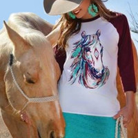 Long Shot Horse Baseball Tee from Crazy Train