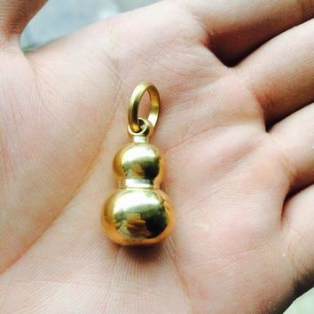 Solid Brass Gourd Key Ring Pendant Pure Hand Plished Large Upgraded Version EDC Pure Copper Gourd Mirror Cord Zipper Pull  Bead
