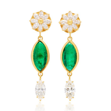 One-Of-A-Kind Diamond Flower Drop Earrings | Moda Operandi