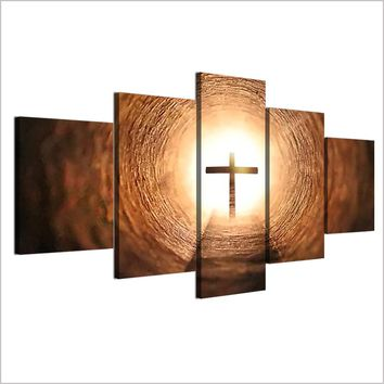 5 Panel Wall Art Jesus Cross Panel Print on Canvas Wall Decor Pictures