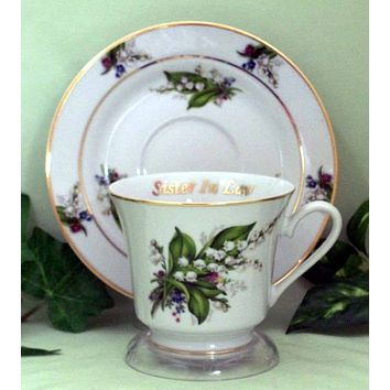Sister in Law Personalized Porcelain Tea Cup (teacup) and Saucer