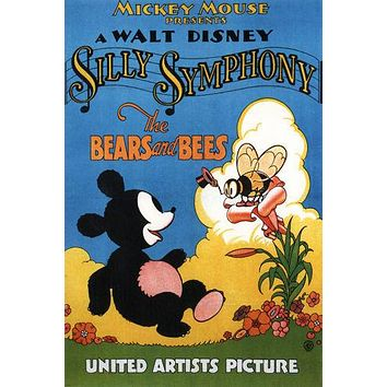 Mickey Mouse The bears and bees - Walt Disney MOVIE POSTER 1932 cartoon 24X36