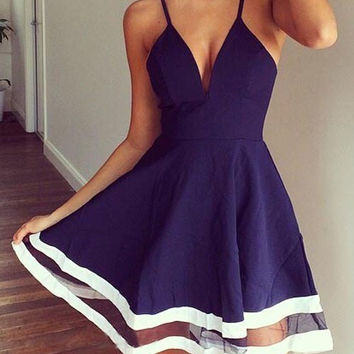 Spaghetti Strap Sleeveless Low Cut Spliced Dress