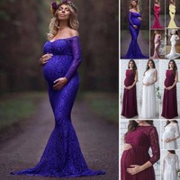 2018 New Summer 3Colors Women Pregnant Maternity Lace Floral Long Dress Maxi Gown Photography Prop Long Sleeve Off Shoulder