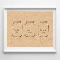 mason jar wall art, printable home decor sign, home sweet home sign