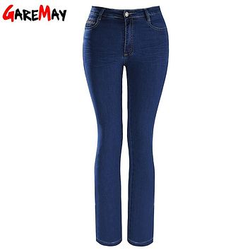 Womens Plus Size Flares Jeans Mom Classic High Waist Long Jeans Elastic Simple Clothing Bell Bottom Pants Casual GAREMAY G1712