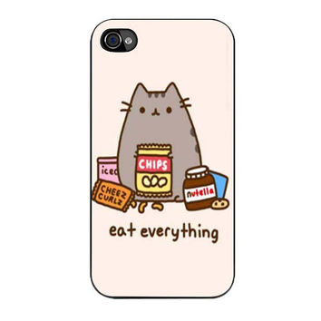 pusheen the cat eat everything case for iphone 4 4s