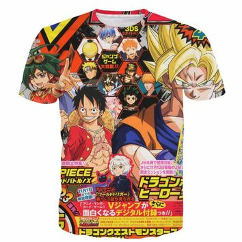 Anime Mash-Up T-Shirt Dragon Ball Naruto Yu-Gi-Oh! Bleach Goku