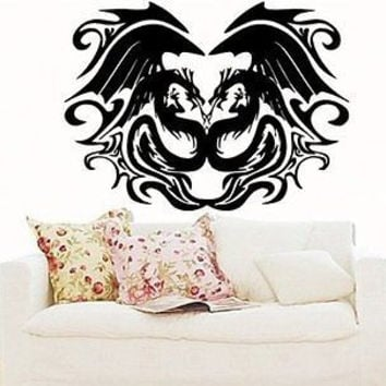Kissing Dragons Dragon Chinese Symbol Phoenix Living Room Wall Decals 4298
