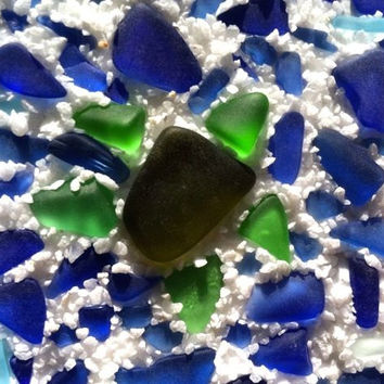 Sea Turtle Sea Glass Mosaic Tiny Art by Wave of Life