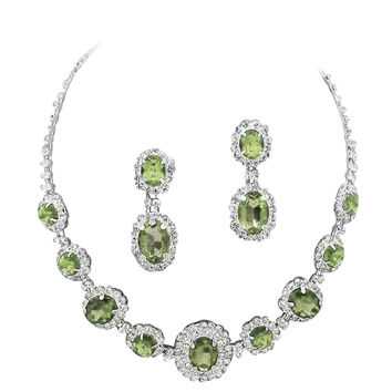 Peridot Olive Green Regal Statement Bridal Bridesmaid Necklace Earring Set Silver Tone