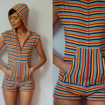 Vtg Rainbow Stripes Zip Up Terry Cloth Hooded Romper