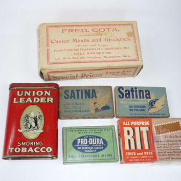 Vintage Advertising Boxes and Containers Pro Dura Rit Dye Satina Fred Cota Union Leader