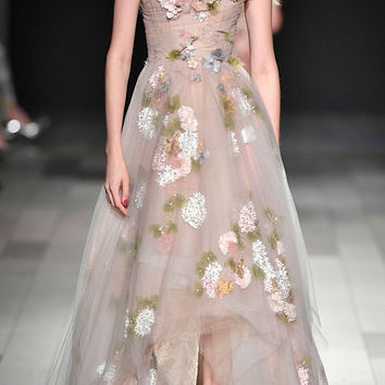 Off The Shoulder Tulle Gown | Moda Operandi