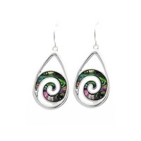 "abalone teardrop spiral earrings at Joji Boutique: A bit over 1"" long, these silver teardrops include an abalone spiral. Designed in USA. #jewelry #joji #fashion #gifts"