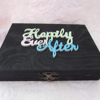 HAPPILY EVER AFTER Black Wedding Ring Pillow Alternative Divided His Hers Wood Box