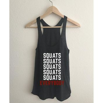 Squats Everybody Tri Blend Athletic Racerback Tank Top