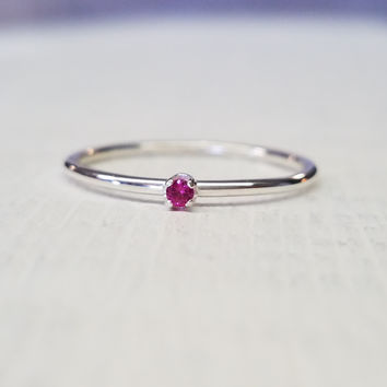 Ruby Gemstone Stacking Ring Sterling Silver