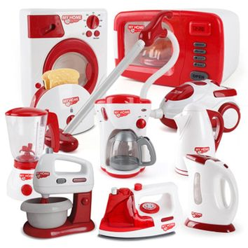 Household Appliances Pretend Play Kitchen Children Toys Coffee Machine Toaster Blender Vacuum Cleaner Cooker Toys For Kid Toys