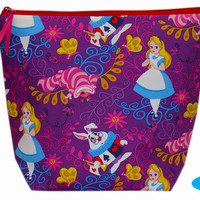 NEW Large Project Bag   Wedge Zipper Bag   Zippered Pouch   Knitting Bag   Alice in Wonderland