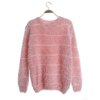 Pinstripe Collarless Fuzzy Sweater