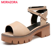 MORAZORA Open-toed platform high heels shoes for woman fashion PU solid buckle summer shoes sandals women non-slip party