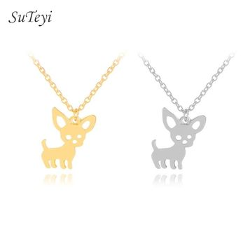 Suteyi New Arrival Cute Chihuahua Pet Pendant Necklaces for Women Love My Pet Animal Dog Necklace Collares Jewelry Gifts Bijoux