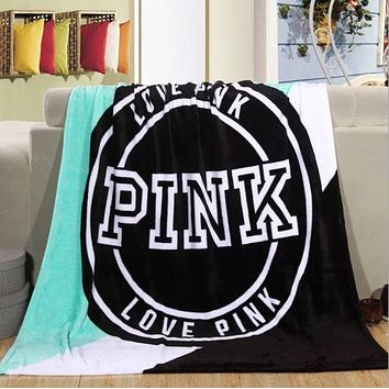 "Victoria Secret VS ""Pink"" Trending Print Comfortable Soft Fleece Warm Travel Blanket Sofa Cover Nap Blanket Green I"