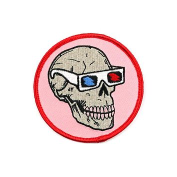 Skull With 3D Glasses Patch