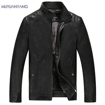 Casual Faux Leather Male Leather Jackets Stand Collar Men's Leather Jackets And Coats Solid Color Men Fur Coat Biker Jackets