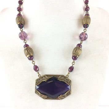 Vintage Purple Czech Glass Necklace Art Deco Amethyst Crystal Choker Antique Estate Jewelry Bridal Wedding Necklace Gift for Her Birthday