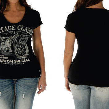 Vintage Classic Women's Motorcycle Top Small - 3XL