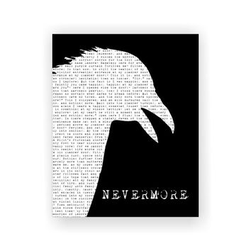 Edgar Allan Poe 'The Raven' Poetry Poem 5x7, 8x10, 11x14 Typography Black & White Art Print Wall Decor