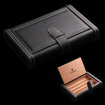 COHIBA Book type Pure cowhide Portable Wooden Lining Black Leather Cigar Humidor