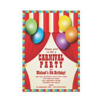 Circus Tent Carnival Birthday Party Invitation from Zazzle.com