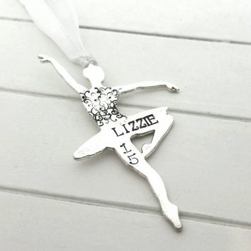 Ballerina ornament,  hand stamped dancer ornament,  ballet ornament