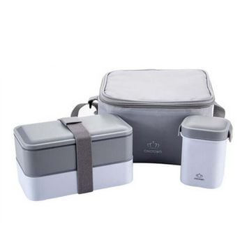 Portable Double Layers School Office Microwave Bento Box with Lid and Belt Plastic Retain Freshness Lunch Sets FH02 2290
