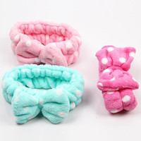 New Coral Velvet Big Bow Headbands Wash Face Makeup and Beauty Hairbands BZ677317