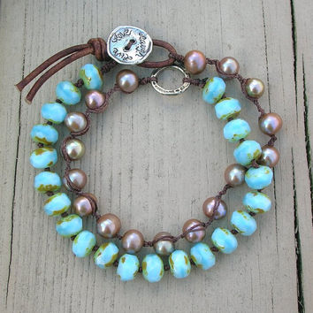 Beachy knotted bracelet, artisan silver, freshwater pearls - Live Love Laugh - baby blue opal, leather, wrap bracelet, summer boho bohemian