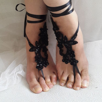 Beaded black, lace wedding sandals, free shipping!