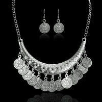 Fashion Boho Style Fine Jewelry Set Vintage Ethnic Carved Coins Pendant Choker Statement Necklace and Earrings