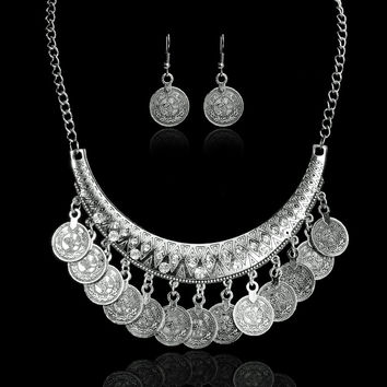 Hot Sale Bohemian Vintage Chokers Necklaces Fashion Ethnic Carved Coins Nice Necklaces&Earrings Set for Women Fine Jewelry Colar