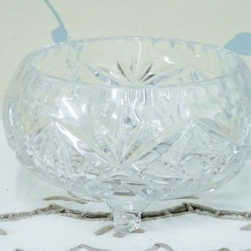 Small Crystal Glass Bowl, Polonia or Lausiter Style, Pinwheel and Fan Pattern, Thumbprint Rim, Three Feet, Vintage Wedding, Homewares