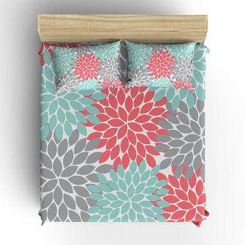 Coral Aqua Gray BEDDING Comforter, Flower Burst DUVET COVER, Pillow Sham, Toddler, Twin, Queen, King, Monogram Bedding Choose Your Colors
